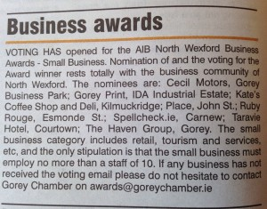 SpellCheck.ie nominated in Gorey Chamber awards